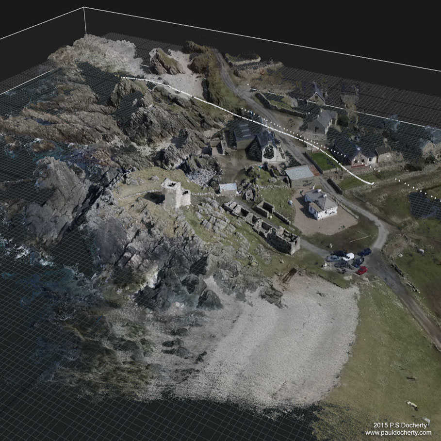 Carrickabraghey Castle site, Inishowen (NW Ireland) once belonging to the O'Doherty clan. 3D reconstruction.