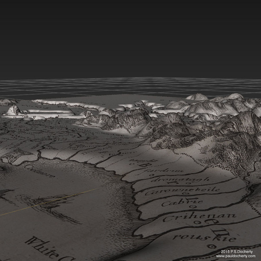 The Hollar - Parsons Map of Inishowen (Ireland) sculpted in 3D