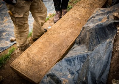 Coffin lid excavated